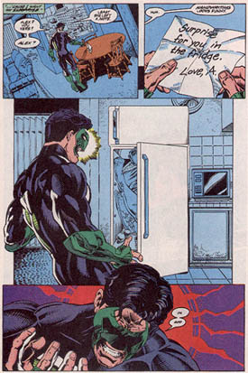 Kyle Rayner finds his girlfriend Alex in the refrigerator